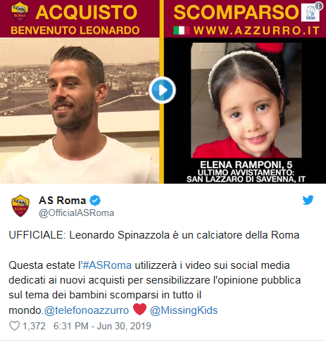 AS roma poster and missing Italian child